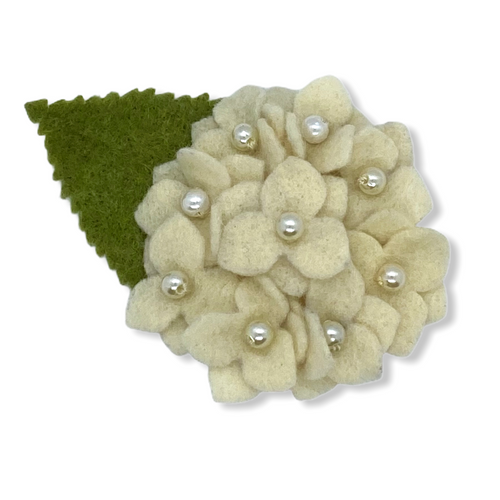 Eco-friendly white hydrangea felt flower brooch