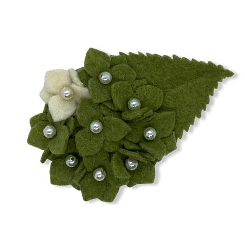 Eco-friendly green hydrangea felt flower brooch