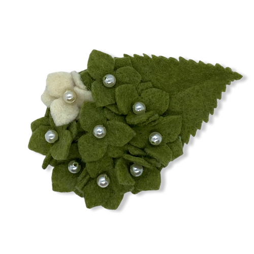 Eco-friendly green hydrangea felt flower brooch