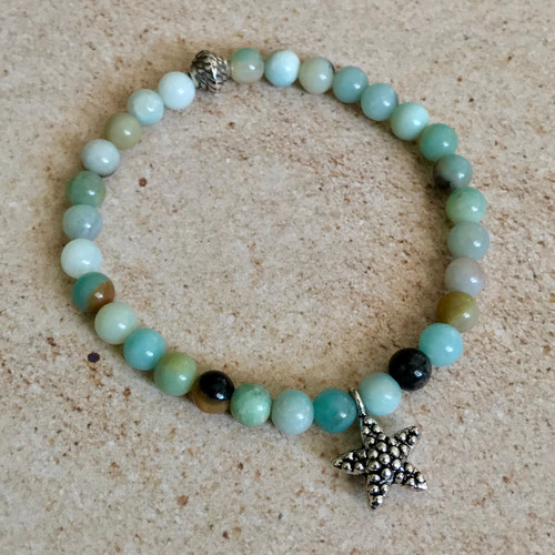 Starfish and Amazonite Stretch Bracelet