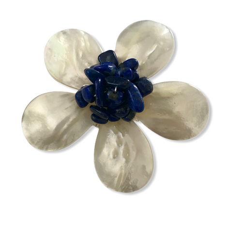 Five Petal Mother of Pearl and Lapis Brooch