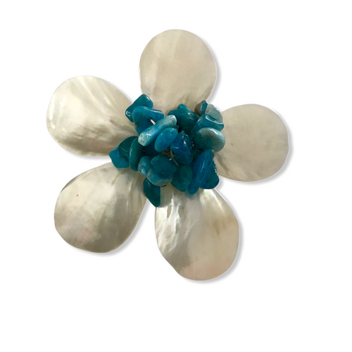 Five Petal Mother of Pearl and Blue Agate Brooch