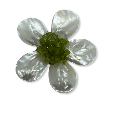 Five Petal Mother of Pearl and Peridot Brooch