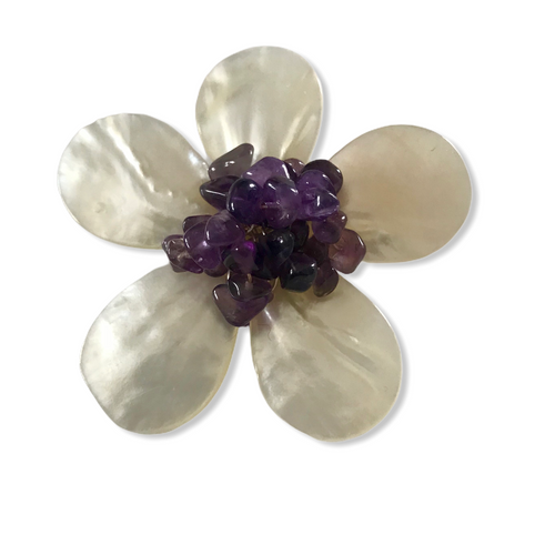 Five Petal Mother of Pearl and Amethyst Brooch