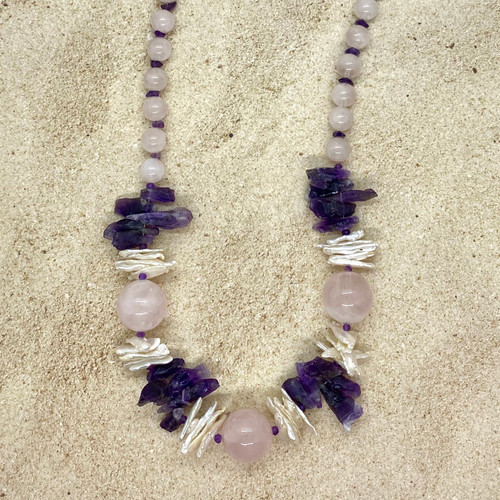 Copy of Amethyst and Freshwater Pearl Sterling Silver Necklace