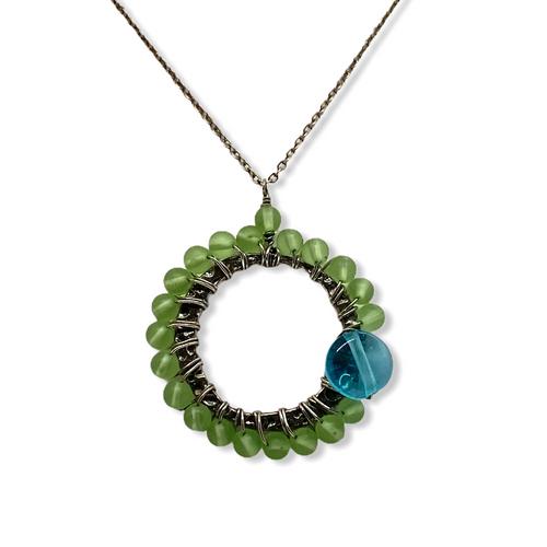 Green and Aqua Dot Czech Glass Circle Necklace