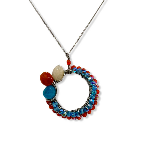 Deep Orange and Aqua Czech Glass Circle with  Agate Necklace