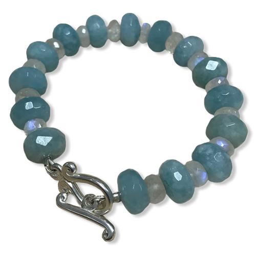Blue Quartz and Moonstone Bracelet