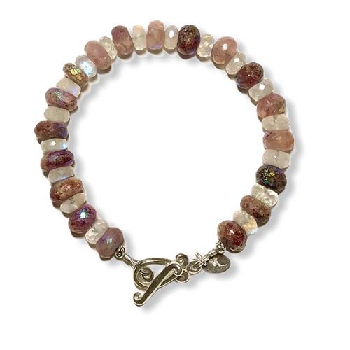 Pink muscovite and moonstone bracelet