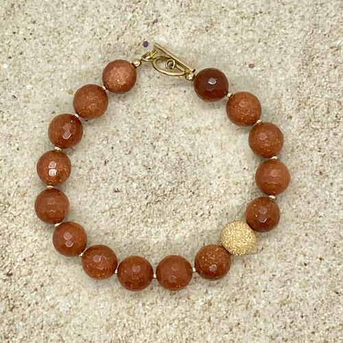 Goldstone and 14 kt gold filled bracelet
