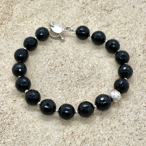 Obsidian and sterling silver bracelet