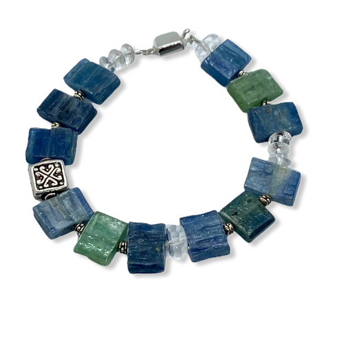 Blue Kyanite, Clear Rock Quartz and Sterling Silver Bracelet