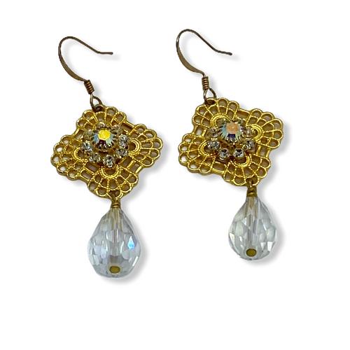 Gold plated trefoil crystal earrings