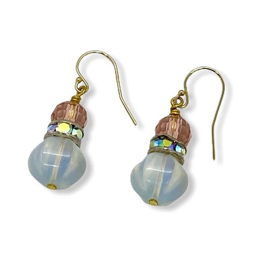 Peachy Crystal and Opalite Earrings