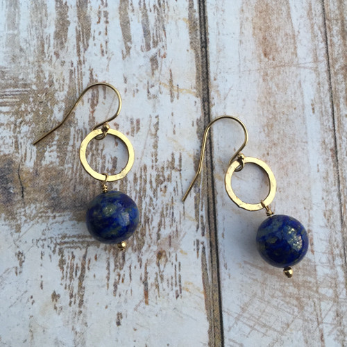 Lapis and Gold Filled Earrings