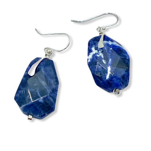 Freeform Sodalite and Sterling Silver Earrings