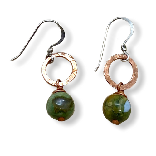 Green Rhyolite and Copper Earrings