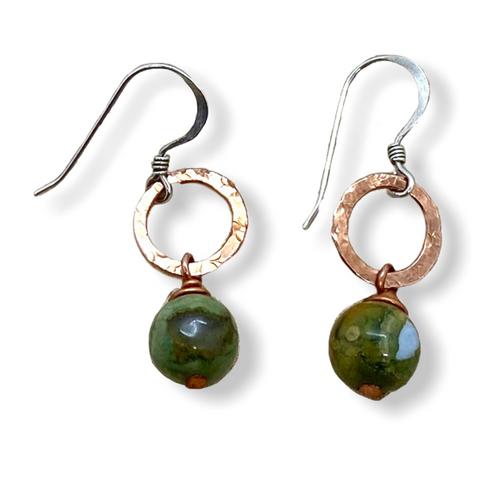 Green Rhyolite and Copper Earrings