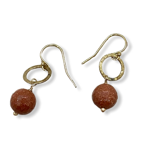Goldstone and gold filled earrings