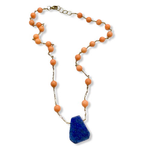Lapis, Coral and Gold Filled Necklace