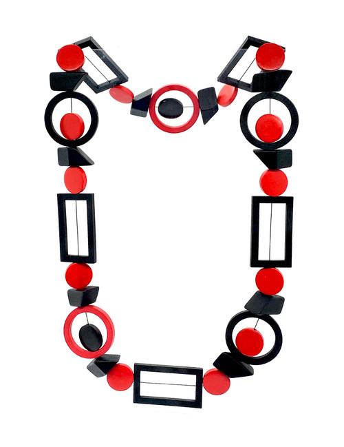 Rectangle Circle Block Wood Necklace