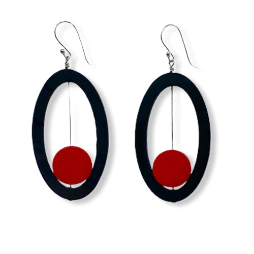 Oval Sliding Red Dot Wood Earrings