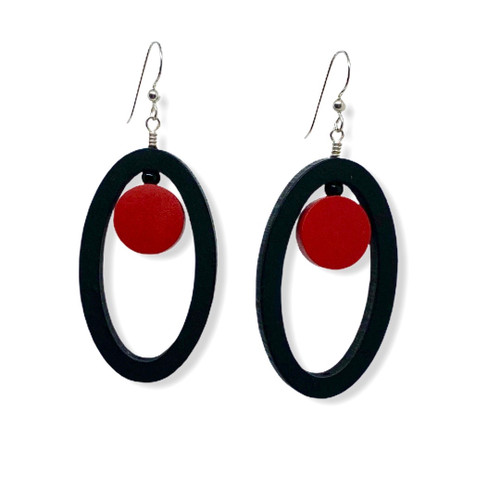 Oval Red Dot Wood Earrings