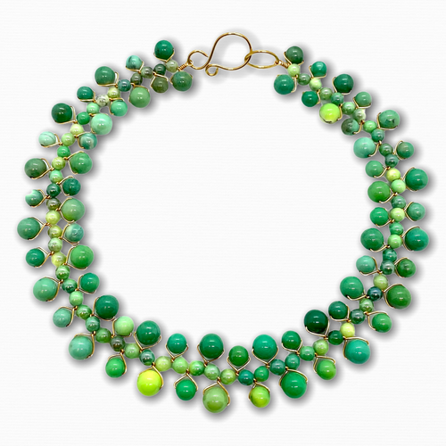 Green chryophrase gemstone collar necklace in 14kt gold-filled wire