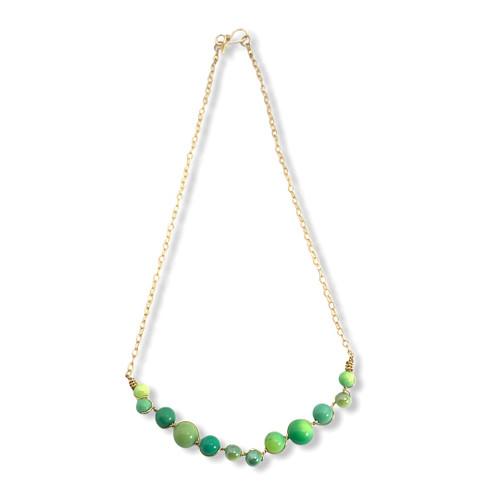 Imagination Gemstone Bar Chain Necklace in 14kt Gold Filled or Sterling Silver