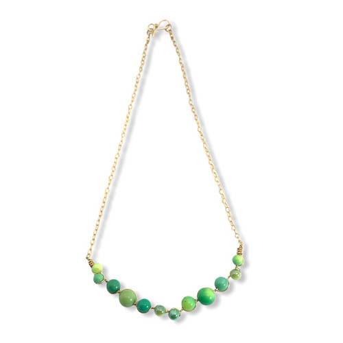 Imagination necklace in green chrysoprase and 14kt gold filled wire and chain