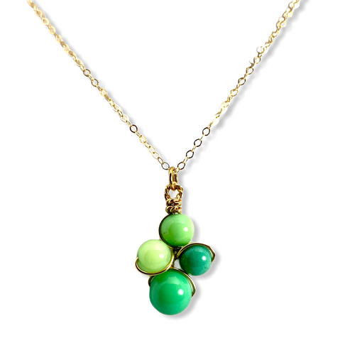 Inspire necklace with green chrysoprase with special diamond finish to make it shimmer on a 14kt yellow gold-filled chain.