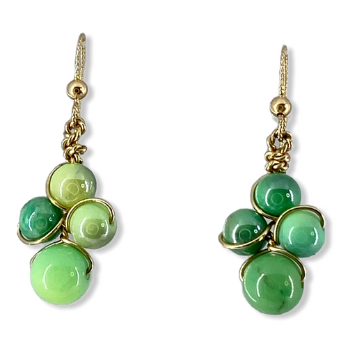 Inspire earrings in green chryosprase and 14 kt yellow gold wire and hook eare wires