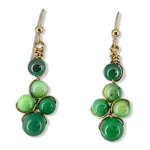 Green chrysoprase in 14kt gold-filled wire and french wire hook earrings