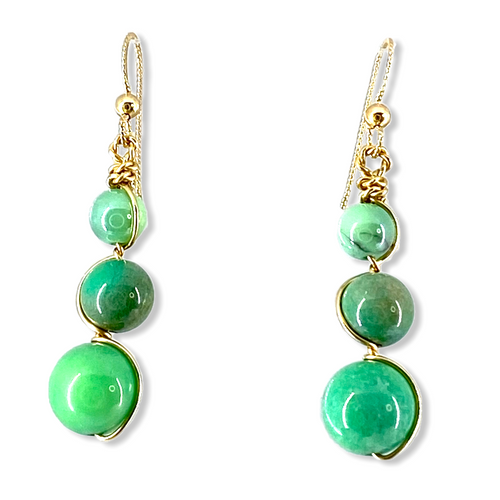 Resilience Earrings in Chrysophrase with 14kt yellow gold filled