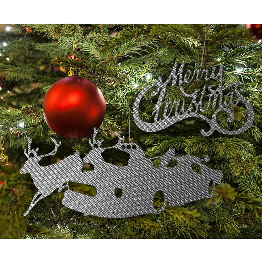 Silver Carbon Merry Christmas Ornament
