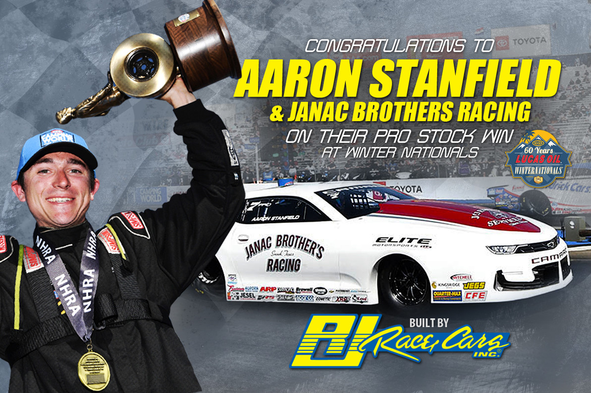 AARON STANFIELD WINS PRO STOCK TITLE AT NEW ENGLAND NATIONALS in his RJ Race Cars built Camaro