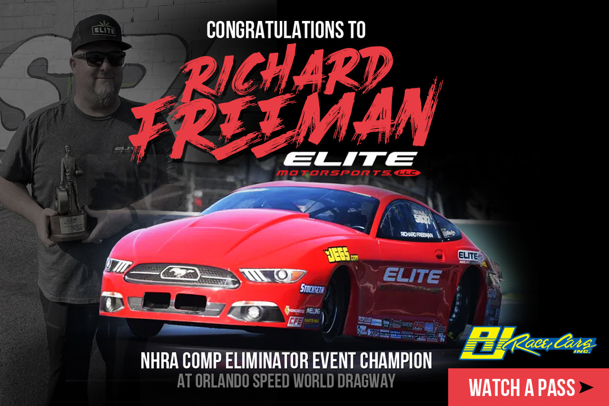 Check out this pass by Richard Freeman with his RJ Race Cars built Ford Mustang at Orlando Speed World Dragway!