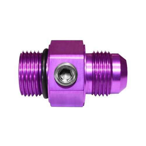 -10 AN Flare to -10 AN Straight 1/8 NPT Fuel Gauge Port Fitting, Aluminum, Purple