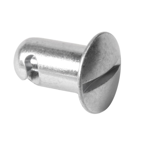 7/16 in. Oval Slotted Head Quarter Turn Fastener, Aluminum, Silver, .400 in. Grip Length