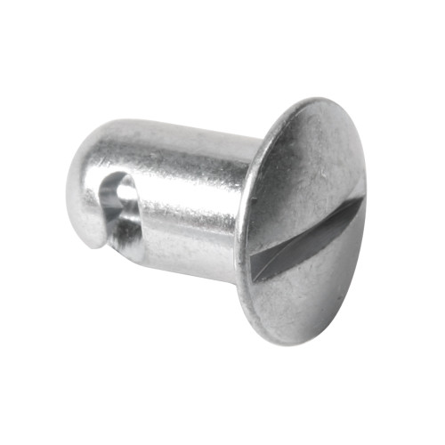 7/16 in. Oval Slotted Head Quarter Turn Fastener, Steel, Silver, .500 in. Grip Length