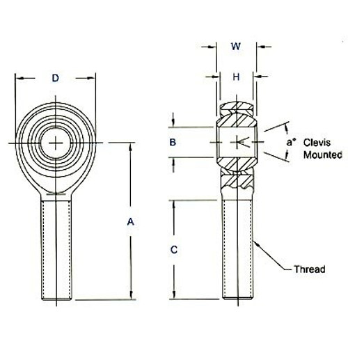 "Aurora Bearing 1/2"" Bore x 3/4""-16 Thread 4130 Extra Heavy Duty Rod End Kit - Rod End Diagram"