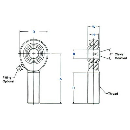 "Aurora Bearing 1/2"" Bore x 3/4""-16 Thread 4130 Rod End Kit - Rod End Diagram"
