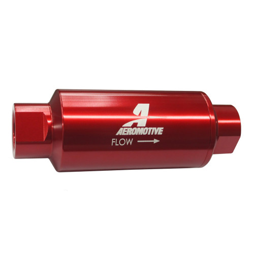 Aeromotive 12301 Filter, In-Line, 10-m Fabric Element, ORB-10, Red