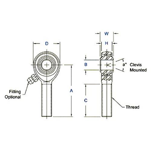 """Aurora Bearing 3/8"""" Bore x 3/8""""-24 Thread LH Male 4130 Rod End"""