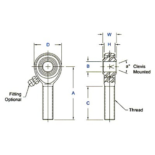 "Aurora Bearing 1/4"" Bore x 1/4""-28 Thread RH Male Mild Steel Rod End"