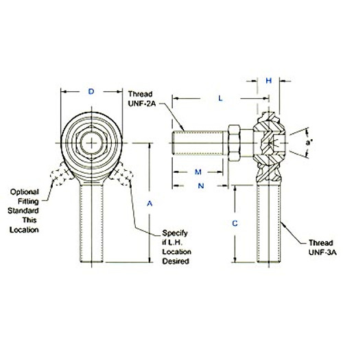 """Aurora Bearing 3/8""""-24 Thread RH Male Mild Steel Rod End with Stud"""