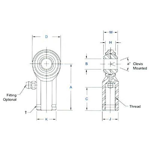 "Aurora Bearing 3/16"" Bore x 10-32 Thread RH Female Mild Steel Rod End"
