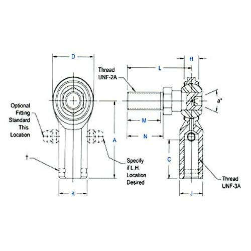 """Aurora Bearing 3/8""""-24 Thread RH Female Mild Steel Rod End with Stud"""