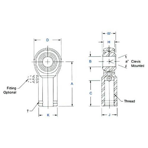 "Aurora Bearing 1/2"" Bore x 1/2""-20 Thread RH Female Mild Steel Rod End"