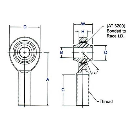 """Aurora Bearing  1/2"""" Bore x 5/8""""-18 Thread RH Male 4340 Rod End"""